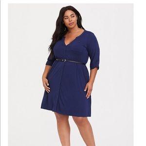 Size 3 - Navy Belted Shirt Dress